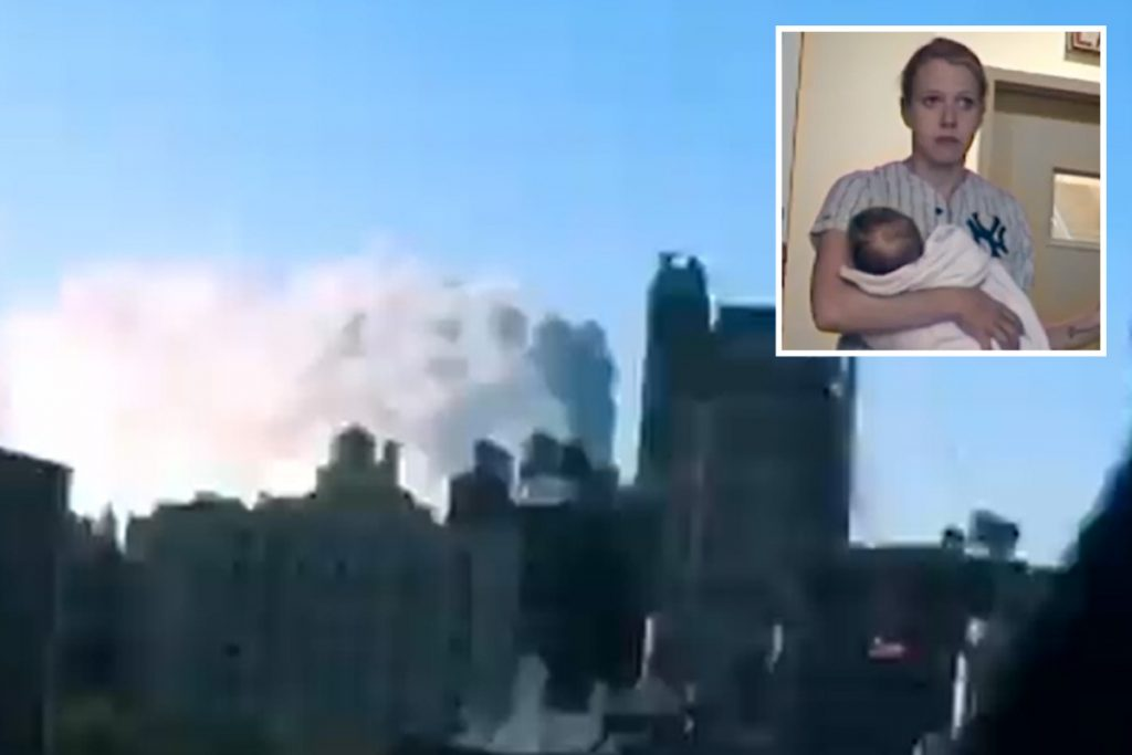 Harrowing unseen 9/11 footage exhibits terrified couple with child frozen in worry as mud cloud swallows their condominium
